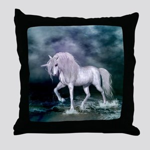 Wonderful unicorn on the beach Throw Pillow