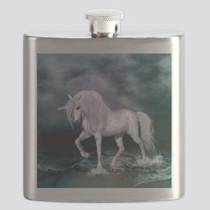 Wonderful unicorn on the beach Flask