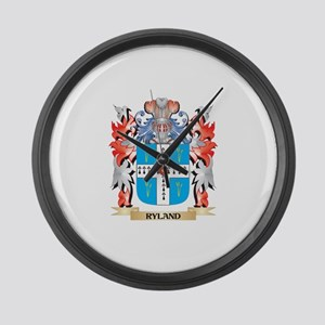 Ryland Coat of Arms - Family Cres Large Wall Clock