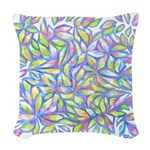 Pastel Leaves (FF) Woven Throw Pillow