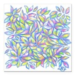 Pastel Leaves (FF) Square Car Magnet 3