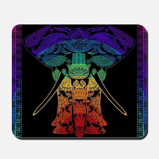 Multi Coloured Decorated Elephant Design Mousepad