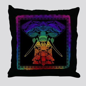 Multi Coloured Decorated Elephant Des Throw Pillow