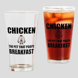 Chickens Poop Breakfast Drinking Glass