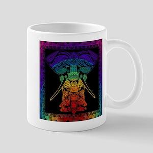 Multi Coloured Decorated Elephant Design. Mugs