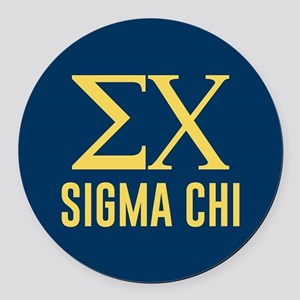 Sigma Chi Letters Round Car Magnet