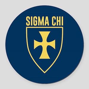 Sigma Chi Logo Round Car Magnet