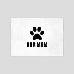 Dog Mom Paw 5'x7'Area Rug