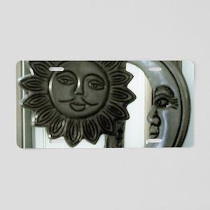 SILVER SUN & MOON FACES Aluminum License Plate