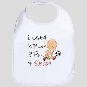 Crawl Walk Run Soccer Baby Bib