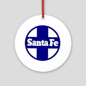 Santa Fe Railroad Blue Round Ornament