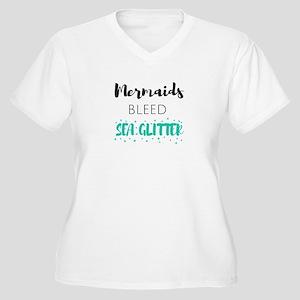 Mermaids Bleed Sea Glitter Plus Size T-Shirt
