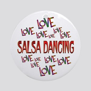 Love Love Salsa Dancing Round Ornament