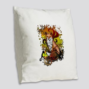 Outdoor Fox Burlap Throw Pillow