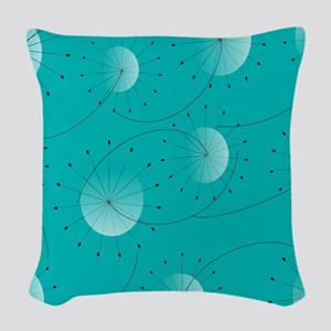 Mid-Century Dandelion Clocks Woven Throw Pillow