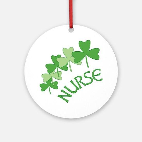 Nurse Shamrocks Outlined Round Ornament
