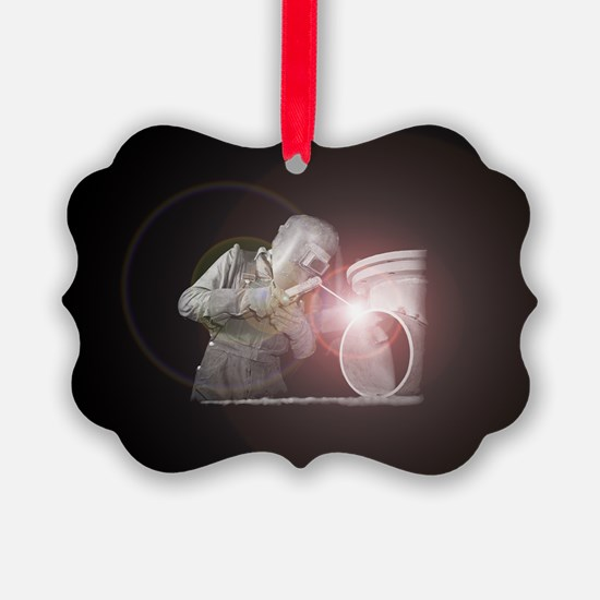 Vintage Welder with Colored Flash Ornament