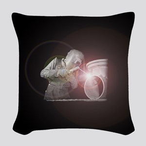 Vintage Welder with Colored Fl Woven Throw Pillow