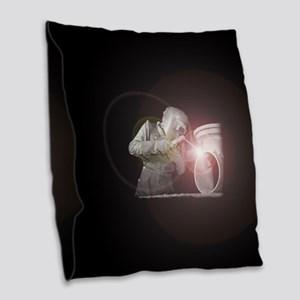 Vintage Welder with Colored Fl Burlap Throw Pillow