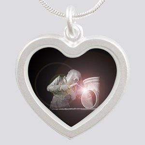 Vintage Welder with Colored Silver Heart Necklace