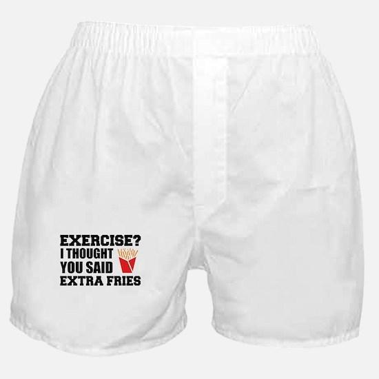 Exercise? I Thought Extra Fries Boxer Shorts