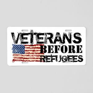 Veterans Before Refugees Aluminum License Plate