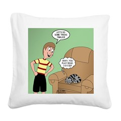 Cat Tricks Square Canvas Pillow