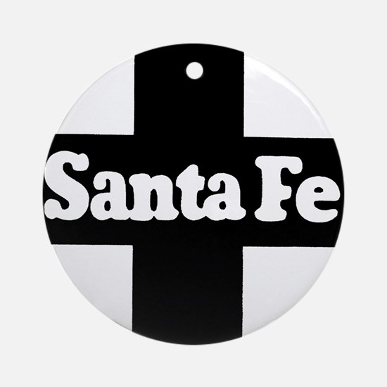 Santa Fe Railroad black Round Ornament