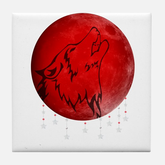 Wolf Moon Tile Coaster