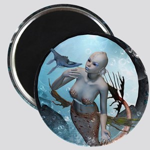 Beautiful mermaid with seadragon Magnets
