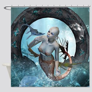Beautiful mermaid with seadragon Shower Curtain
