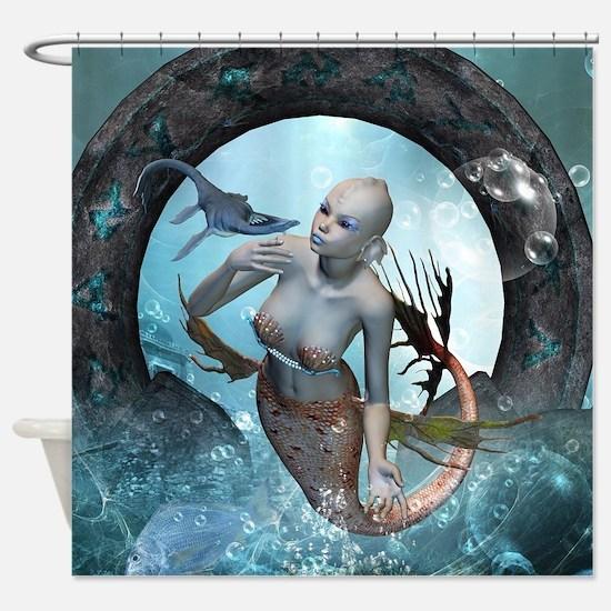 Beautiful mermaid with seadragon Shower Curtain