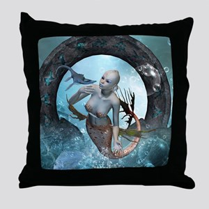 Beautiful mermaid with seadragon Throw Pillow