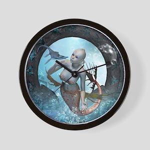 Beautiful mermaid with seadragon Wall Clock