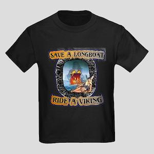 Save a Longboat Ride a Viking Kids Dark T-Shirt