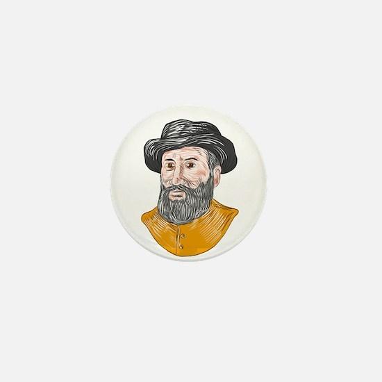 Ferdinand Magellan Bust Drawing Mini Button