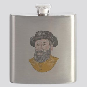 Ferdinand Magellan Bust Drawing Flask