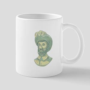Juan Sebastian Elcano Bust Drawing Mugs