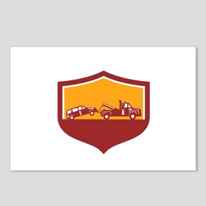 Tow Truck Towing Car Shield Retro Postcards (Packa