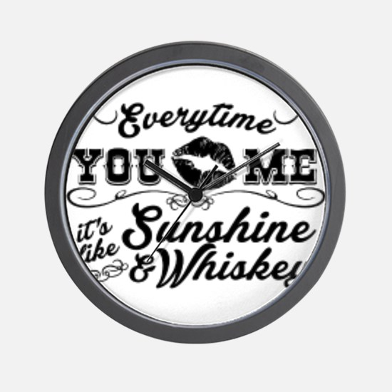 Kiss me- sunshine & whiskey Wall Clock