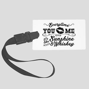 Kiss me- sunshine & whiskey Large Luggage Tag