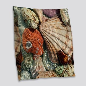 Seashells Burlap Throw Pillow