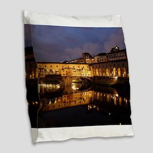 Ponte Vecchio Florence Burlap Throw Pillow