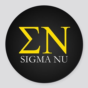 Sigma Nu Letters Round Car Magnet