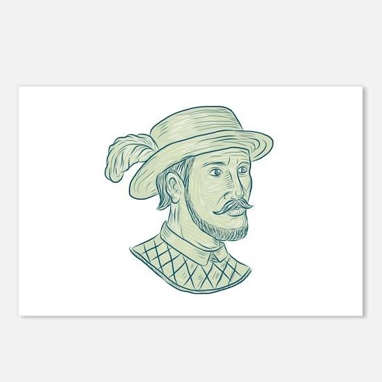 Juan Ponce de Leon Explorer Drawing Postcards (Pac