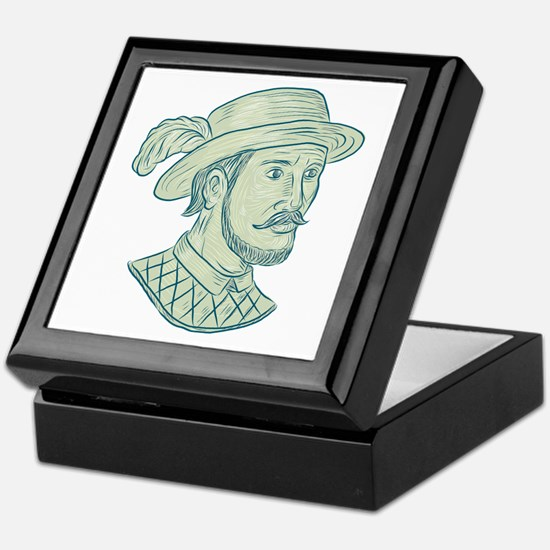 Juan Ponce de Leon Explorer Drawing Keepsake Box