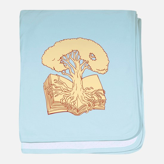 Oak Tree Rooted on Book Drawing baby blanket