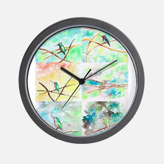 Hummingbird Watercolors 2 Wall Clock