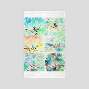 Hummingbird Watercolors 2 Area Rug