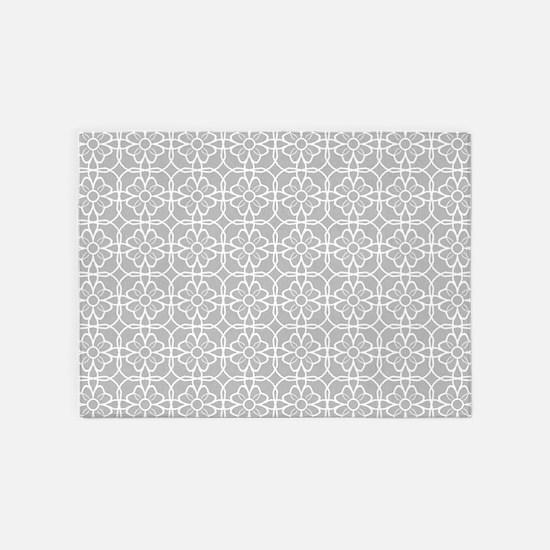 Grey Flourish Pattern 5'x7'Area Rug